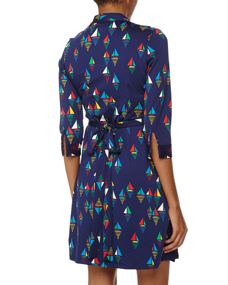 Milo Sailboat Print Jersey Wrap Dress, Harbor