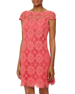 Ali Ro Cap-Sleeve Lace Shift Dress, Watermelon