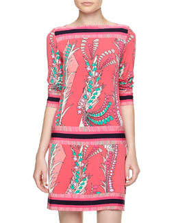 Ali Ro Floral & Stripe Print Drop-Waist Dress, Watermelon