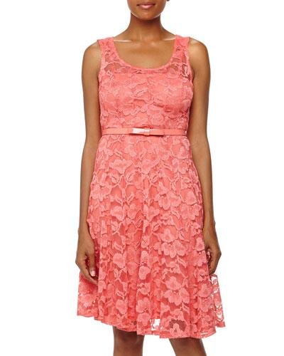 Chetta B Lace Bow-Belt Dress, Melon