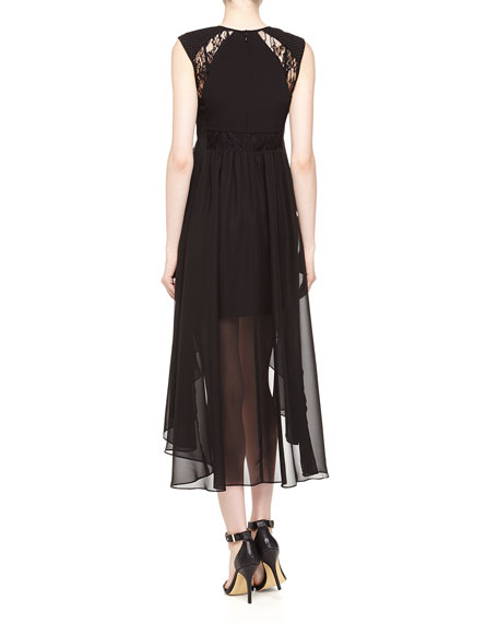 Lace/Chiffon High-Low Dress, Black