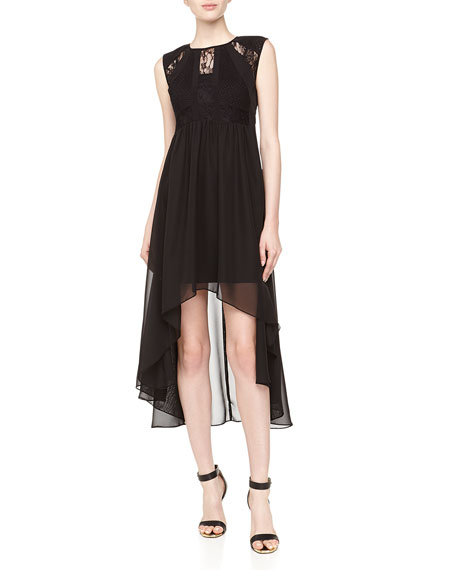 Lace/Chiffon High-Low Dress, Black
