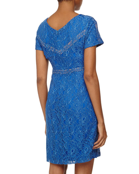 Short-Sleeve Structured Lace Dress, China Blue