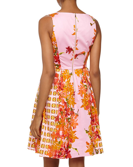 Sleeveless Fit-And-Flare Floral Poplin Dress, Parisian Pink