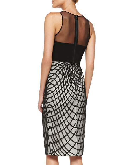 Khloe Cocktail Sheath Dress w/ Wavy Diamond Skirt