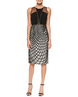 Sachin + Babi Khloe Cocktail Sheath Dress w/ Wavy Diamond Skirt