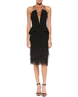 Sachin + Babi Melrose Cocktail Dress with Peplum & Feathers