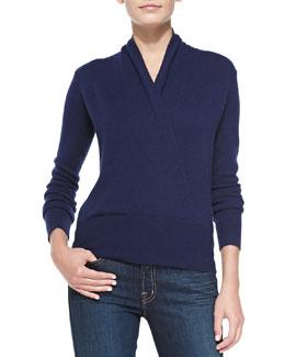 Neiman Marcus Faux Wrap Cashmere Sweater