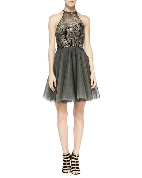 Sachin & Babi Noir La Brea Halter-Neck Cocktail Dress