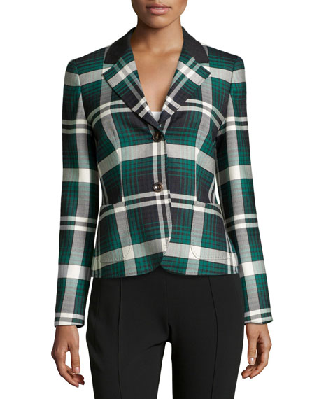 Bulus Plaid Wool-Stretch Blazer, Charcoal