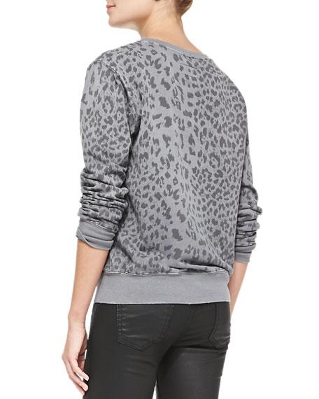 Leopard-Print Shrunken Jogger Top