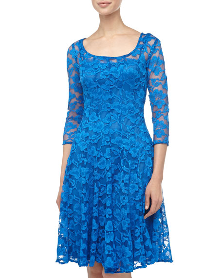 Three-Quarter-Sleeve Lace Fit-And-Flare Dress