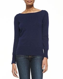 Neiman Marcus Bateau-Neck Cashmere Sweater