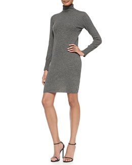 Neiman Marcus Cashmere Long-Sleeve Turtleneck Dress