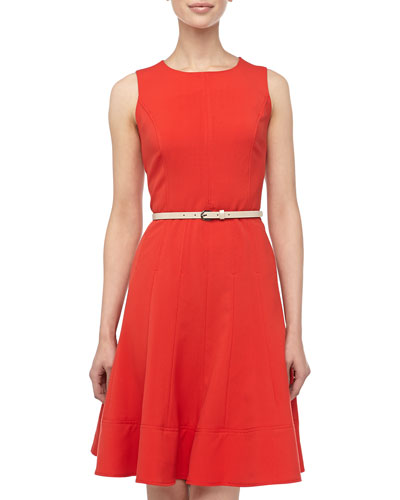 Neiman Marcus Full Skirted Stretch Crepe Dress, New Red