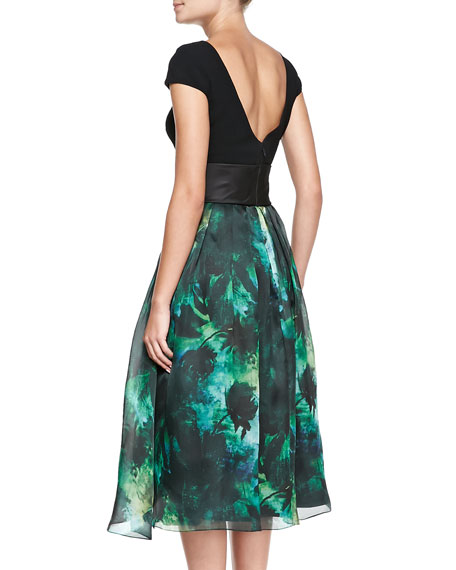Cap-Sleeve Floral-Skirt Cocktail Dress
