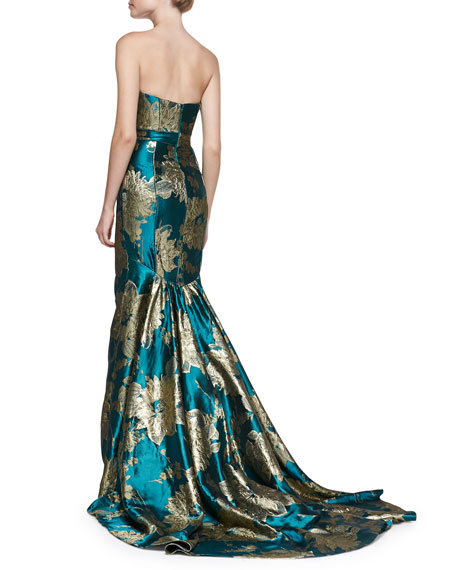 Strapless Floral Mermaid Gown
