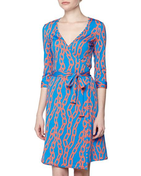 Chain Link Print Wrap Dress, Blue/Orange