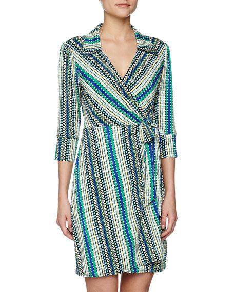 Dotted Stripe Print Wrap Dress, Snapple