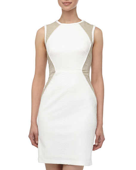 Snake-Print Two-Tone Jacquard Dress, Ivory/Off White