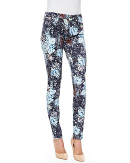 7 For All Mankind High-Waist Skinny Jeans, Duchess Garden Print