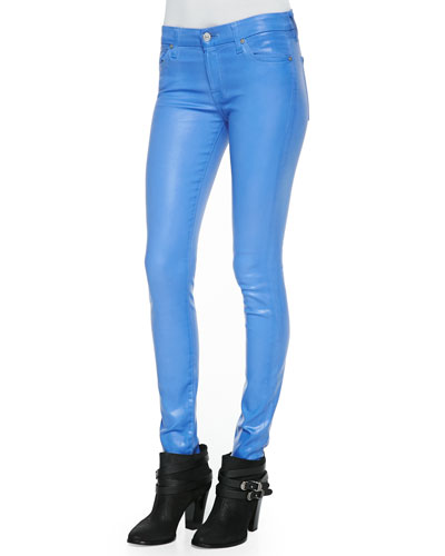 7 For All Mankind Gummy Skinny Denim Jeans, Coated Blue Topaz