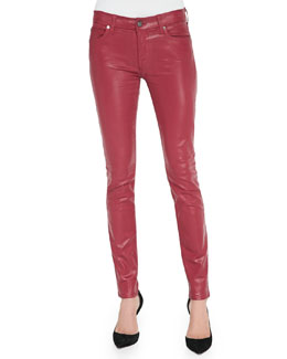 7 For All Mankind Gummy Skinny Jeans, Coated Cranberry