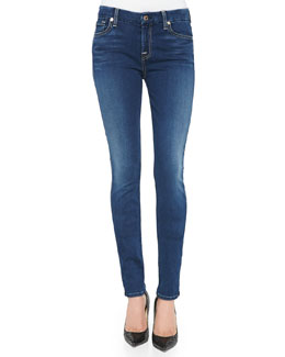 7 For All Mankind Mid-Rise Faded Skinny Jeans, Brilliant Blue