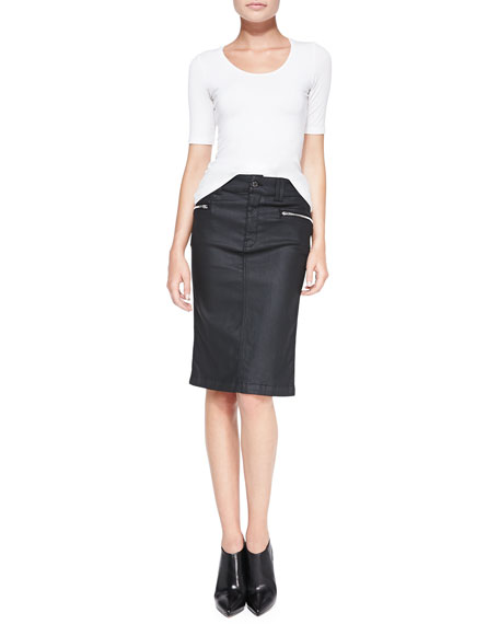 High-Waist Waxed Pencil Skirt, Black