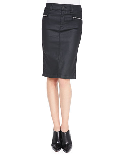 7 For All Mankind High-Waist Waxed Pencil Skirt, Black
