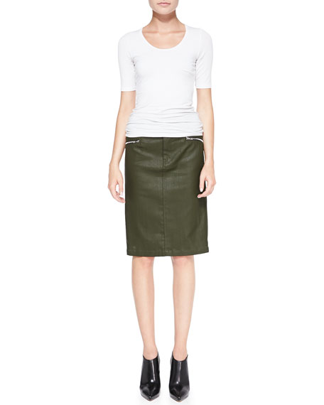 High-Waist Waxed Pencil Skirt, Olive