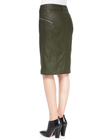 High-Waist Waxed Pencil Skirt, Olive