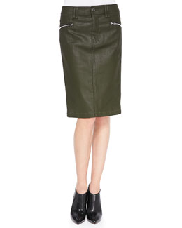 7 For All Mankind High-Waist Waxed Pencil Skirt, Olive