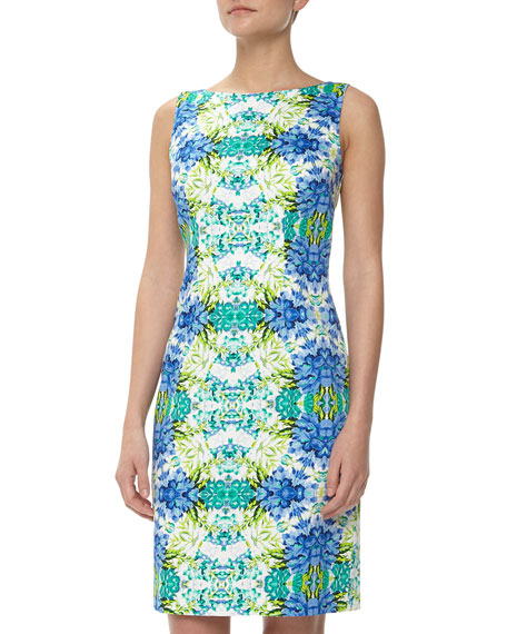 Floral Mirror Print Sheath Dress, Blue/White