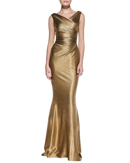 Draped Pleated-Bodice Metallic Gown