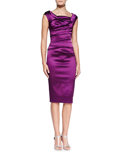 Talbot Runhof Cap-Sleeve Ruched Cocktail Dress
