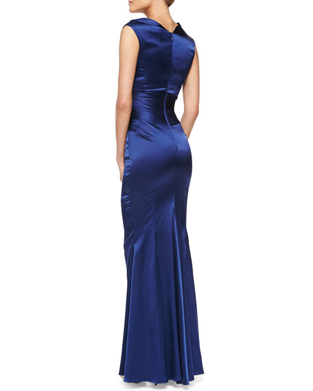 Sleeveless Ruched Mermaid Gown