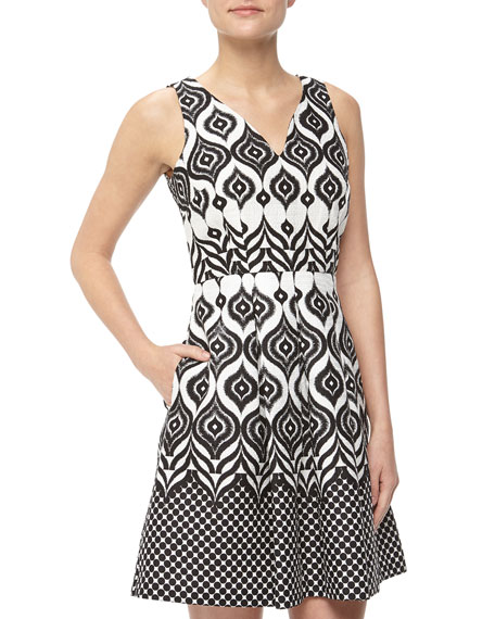 Mixed Ikat Print Fit-And-Flare Dress, Black/White