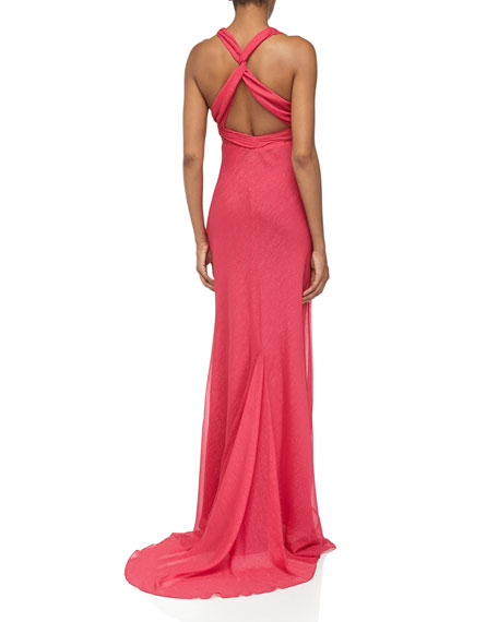 Halter Glittery Crepe Gown, Berry
