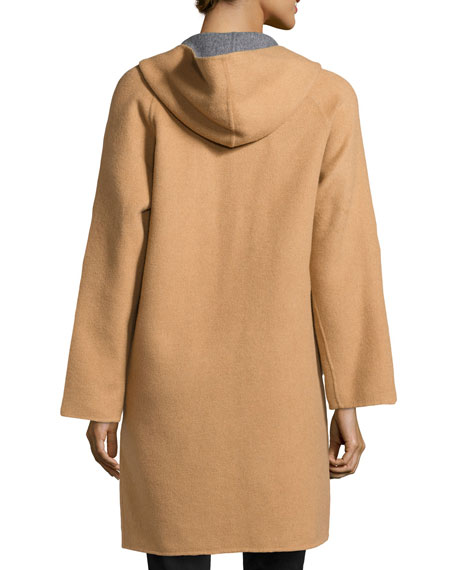 Double-Face Wool-Blend Coat, Camel/Heather Gray
