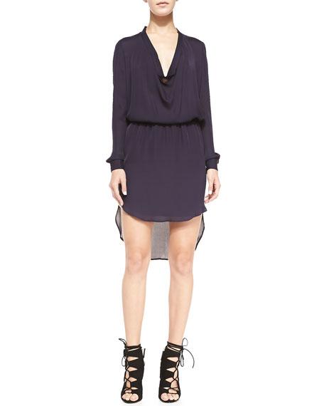 Silk Cowl-Neck Shirtdress