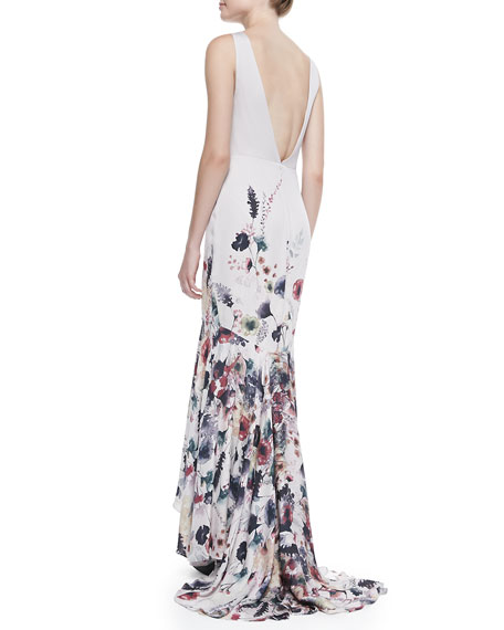 Floral-Print Draped Mermaid Gown