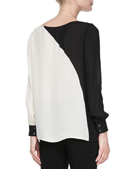 Two-Tone Diagonal Silk Blouse