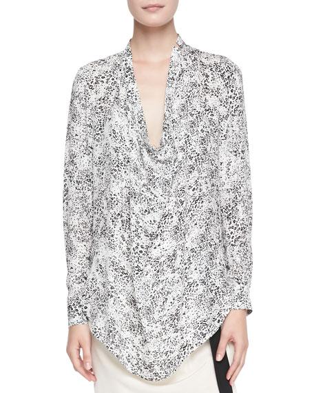 Ditsy Leopard-Print Silk Blouse