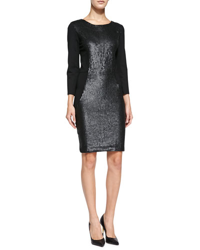 Haute Hippie 3/4-Sleeve Sequined-Front Sheath Dress