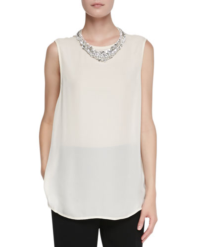 Haute Hippie Sleeveless Blouse with Jeweled Collar