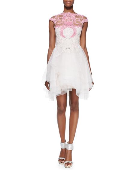 Cap-Sleeve Lace-Bodice Cocktail Dress