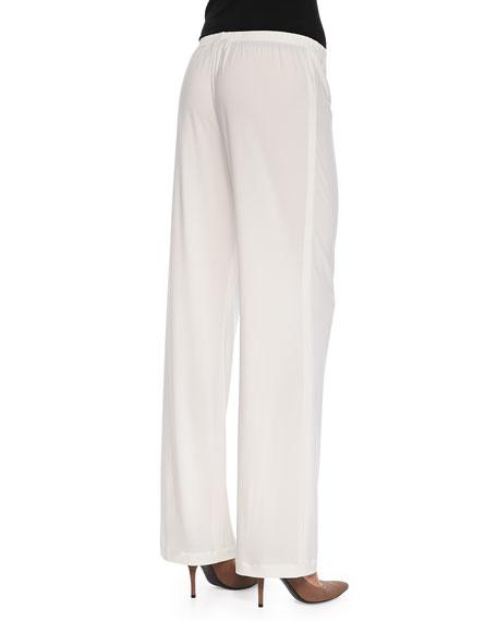 Stretch-Knit Straight-Leg Pants, White