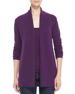 Neiman Marcus Draped Open-Front Cashmere Cardigan, Women's