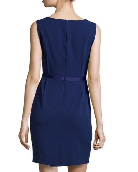 Front-Pleat Sleeveless Dress